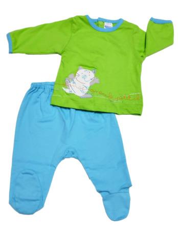 Conjunto primera puesta bebé niño algodón azul y verde