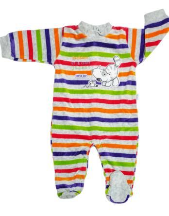 Pelele de bebé terciopelo m/l rayas de colores