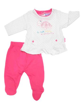 Conjunto primera puesta bebé niña algodón fucsia y blanco