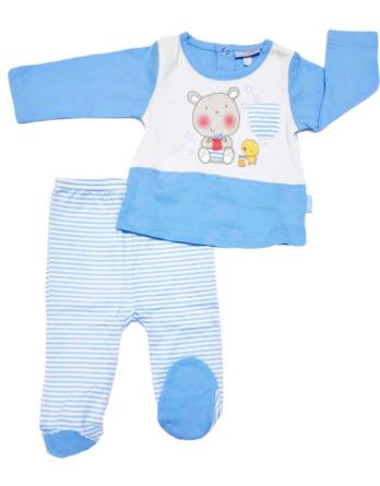 Conjunto primera puesta bebé niño algodón rayas celestes y blancas
