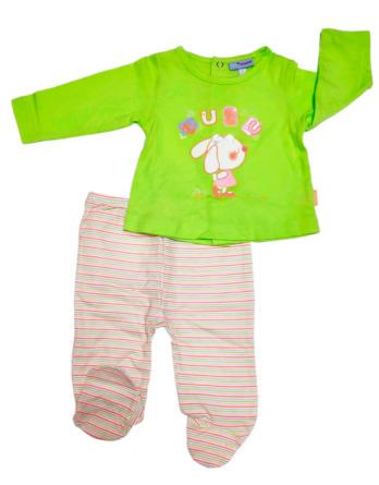 Conjunto primera puesta bebé niña algodón rayas verde lima